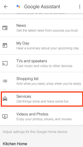 Google Home Services Tab