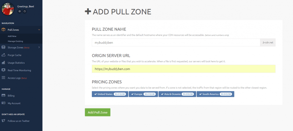 Create a pull zone with cdnbunny
