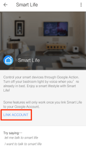 Link Smart Life account to Google Home app
