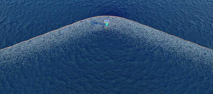 Aerial view of trash in ocean