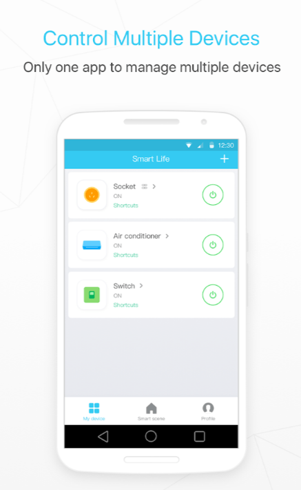 Dashboard of Smart Life app